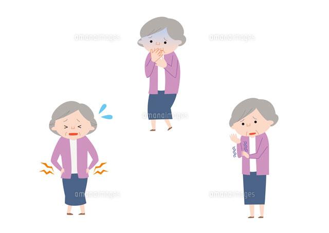 腰痛、吐き気、しびれを感じるおばあさん[10423000095]| 写真素材 ...