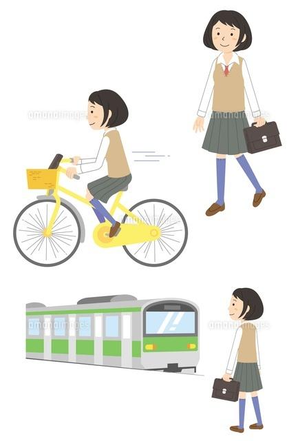 する女子学生(徒歩・自転車 ...