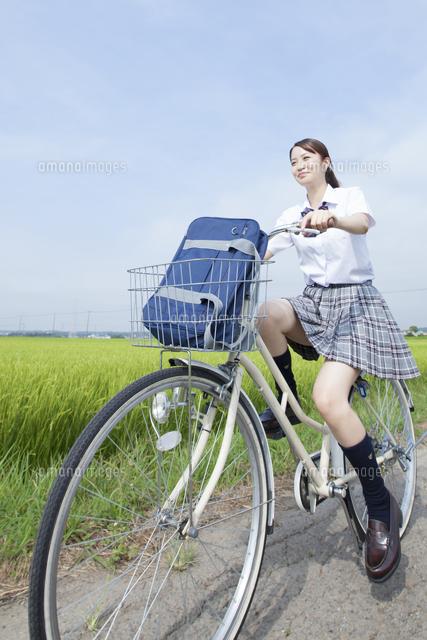 自転車通学する女子高校生 ...